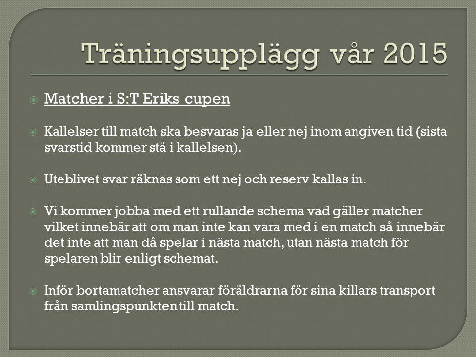  Matcher i S:T Eriks cupen  Kallelser till match ska besvaras ja eller nej inom angiven tid (sista svarstid kommer stå i kallelsen).