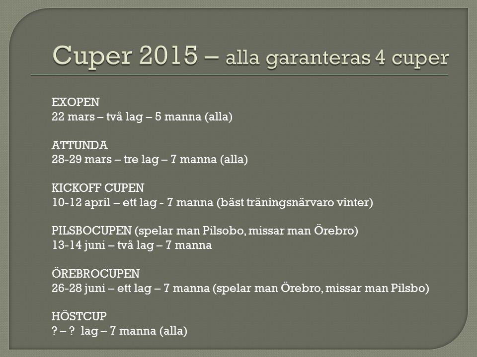 EXOPEN 22 mars – två lag – 5 manna (alla) ATTUNDA 28-29 mars – tre lag – 7 manna (alla) KICKOFF CUPEN 10-12 april – ett lag - 7 manna (bäst träningsnärvaro vinter) PILSBOCUPEN (spelar man Pilsobo, missar man Örebro) 13-14 juni – två lag – 7 manna ÖREBROCUPEN 26-28 juni – ett lag – 7 manna (spelar man Örebro, missar man Pilsbo) HÖSTCUP .