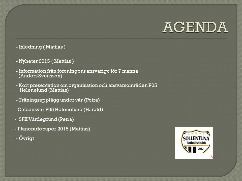 - Inledning ( Mattias ) - Nyheter 2015 ( Mattias ) - Information från föreningens ansvarige för 7 manna (Anders Svensson) - Kort presentation om organisation och ansvarsområden P05 Helenelund (Mattias) - Träningsupplägg under vår (Petra) - Cafeansvar P05 Helenelund (Harold) - SFK Värdegrund (Petra) - Planerade cuper 2015 (Mattias) - - Övrigt