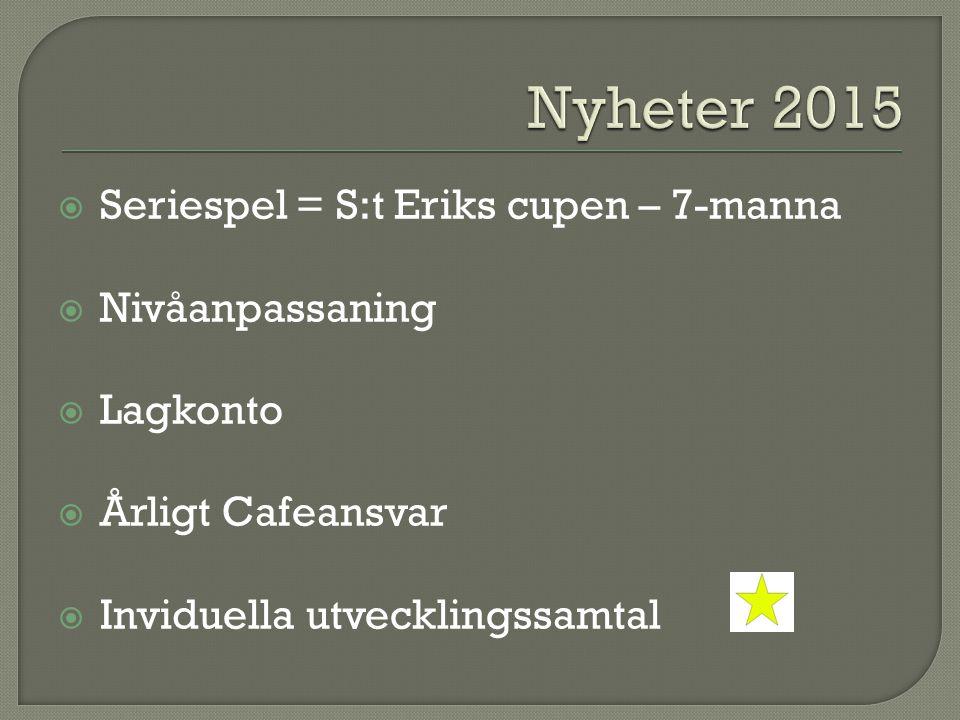  Seriespel = S:t Eriks cupen – 7-manna  Nivåanpassaning  Lagkonto  Årligt Cafeansvar  Inviduella utvecklingssamtal