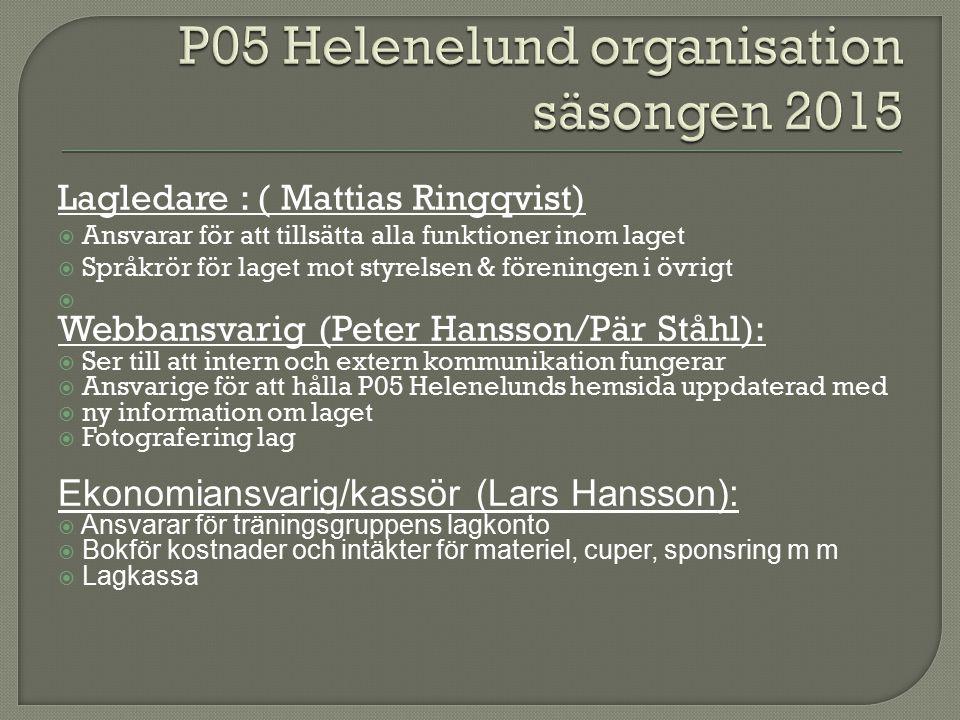 Lagledare : ( Mattias Ringqvist)  Ansvarar för att tillsätta alla funktioner inom laget  Språkrör för laget mot styrelsen & föreningen i övrigt  Webbansvarig (Peter Hansson/Pär Ståhl):  Ser till att intern och extern kommunikation fungerar  Ansvarige för att hålla P05 Helenelunds hemsida uppdaterad med  ny information om laget  Fotografering lag Ekonomiansvarig/kassör (Lars Hansson):  Ansvarar för träningsgruppens lagkonto  Bokför kostnader och intäkter för materiel, cuper, sponsring m m  Lagkassa
