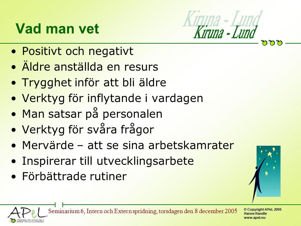© Copyright APeL 2005 Hanne Randle www.apel.nu Seminarium 6, Intern och Extern spridning, torsdagen den 8 december 2005 Vad man vet Positivt och negat