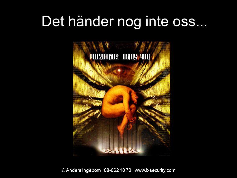 © Anders Ingeborn 08-662 10 70 www.ixsecurity.com Det händer nog inte oss...