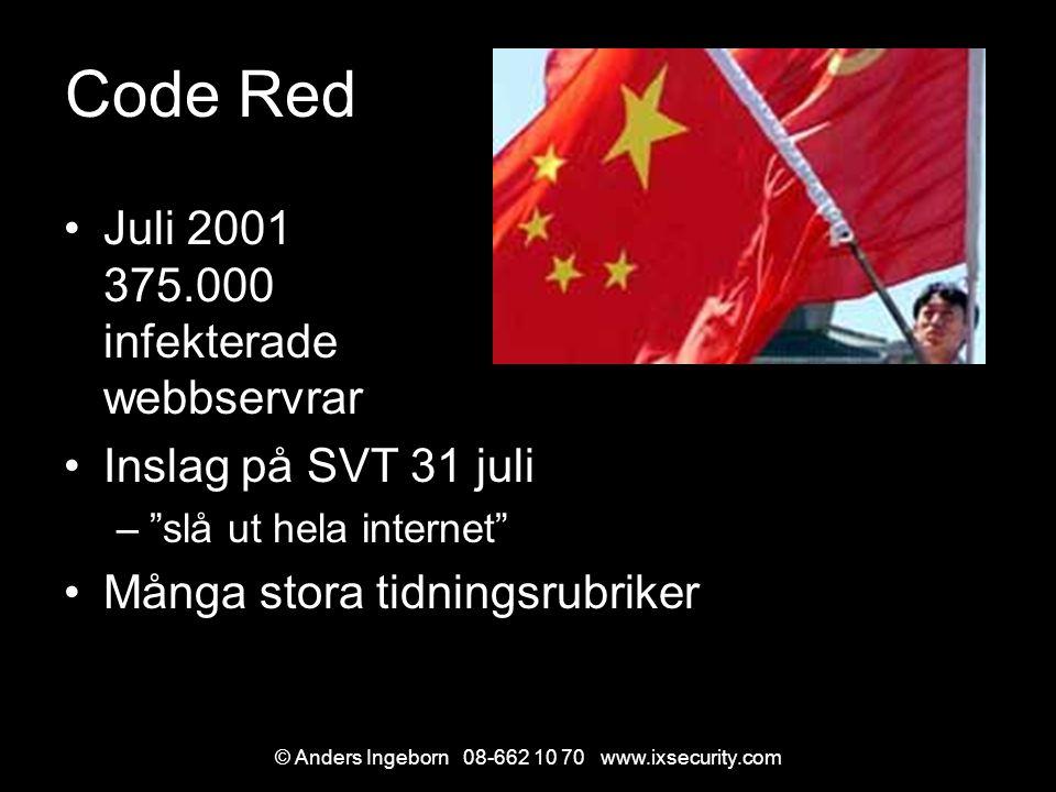 © Anders Ingeborn 08-662 10 70 www.ixsecurity.com Code Red Juli 2001 375.000 infekterade webbservrar Inslag på SVT 31 juli – slå ut hela internet Många stora tidningsrubriker