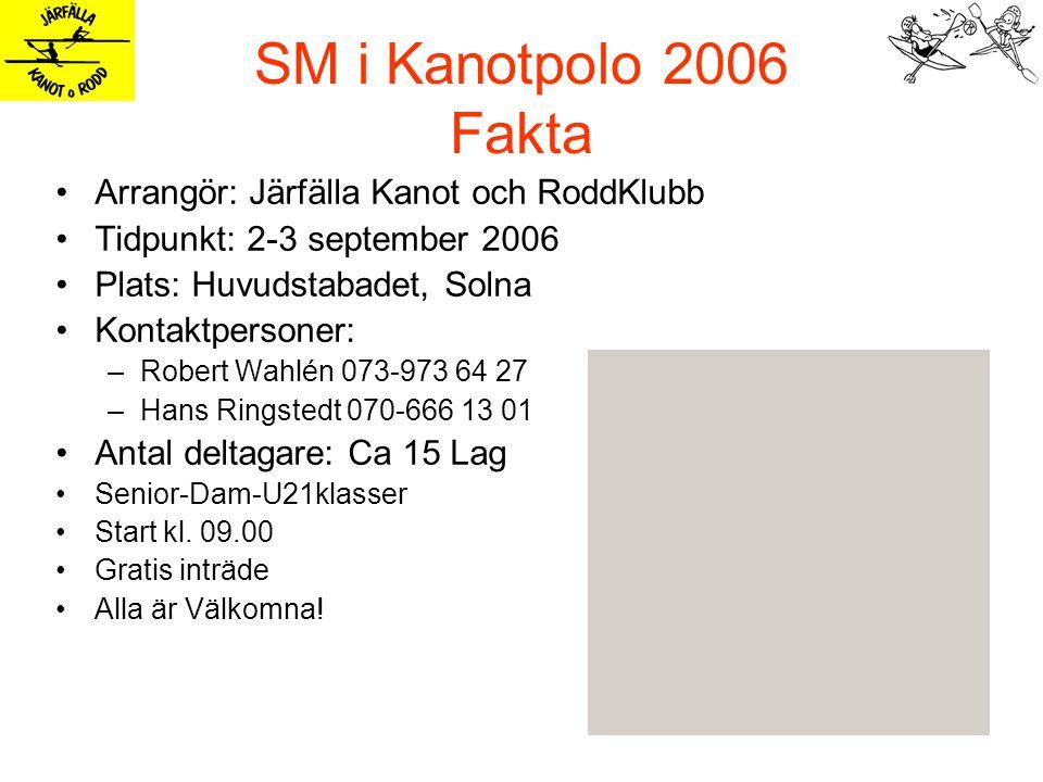 SM i Kanotpolo 2006 Fakta Arrangör: Järfälla Kanot och RoddKlubb Tidpunkt: 2-3 september 2006 Plats: Huvudstabadet, Solna Kontaktpersoner: –Robert Wahlén 073-973 64 27 –Hans Ringstedt 070-666 13 01 Antal deltagare: Ca 15 Lag Senior-Dam-U21klasser Start kl.