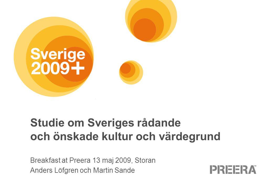 Studie om Sveriges rådande och önskade kultur och värdegrund Breakfast at Preera 13 maj 2009, Storan Anders Löfgren och Martin Sande