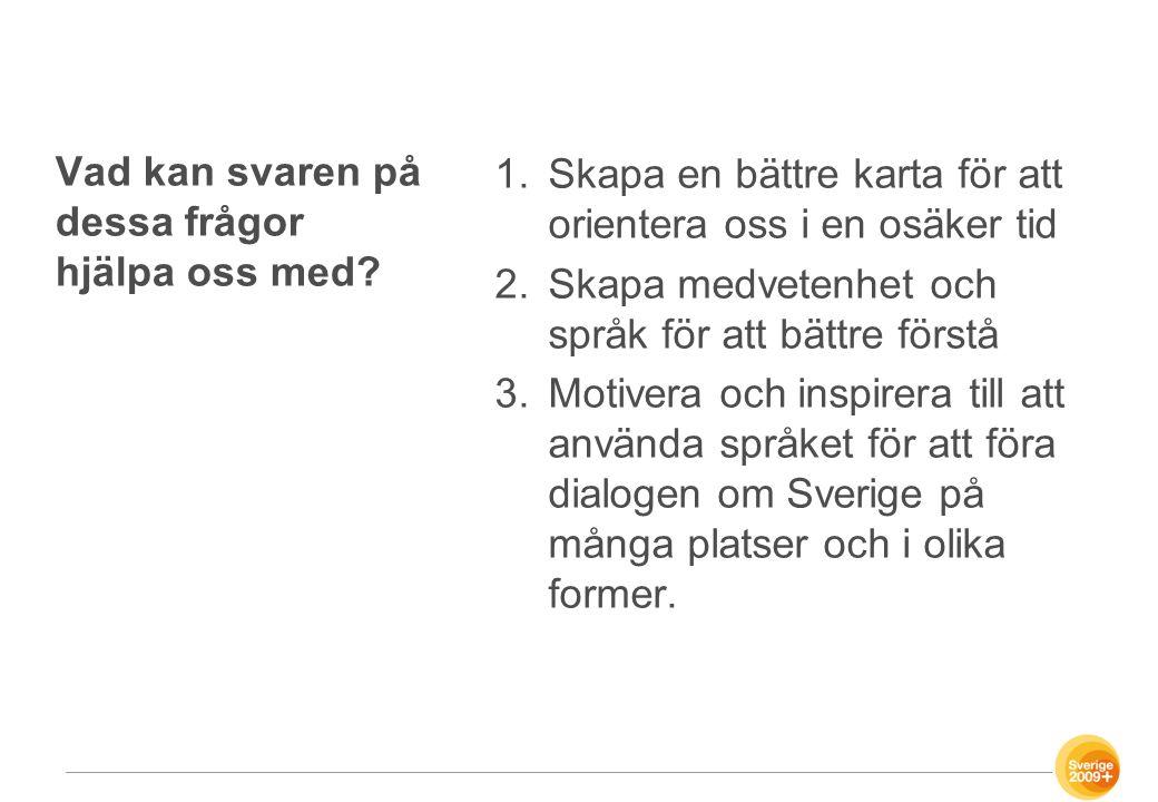 Tre påståenden om svenskens personliga värderingar 1.Svenskarna vill uppfattas som ärliga och göra rätt för sig.
