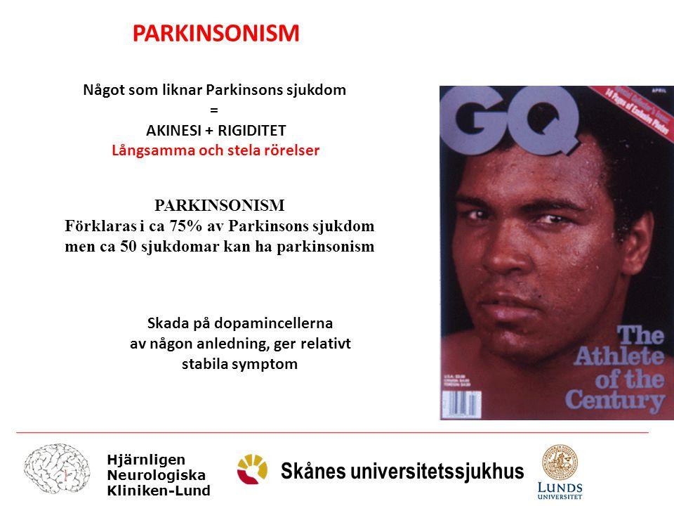 Hjärnligen Neurologiska Kliniken-Lund Skånes universitetssjukhus L-dopa pumpas in från tunntarmen till blodet, och från blodet till hjärnan.