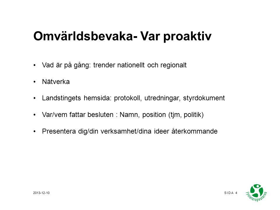 Omvärldsbevaka- Var proaktiv Vad är på gång: trender nationellt och regionalt Nätverka Landstingets hemsida: protokoll, utredningar, styrdokument Var/vem fattar besluten : Namn, position (tjm, politik) Presentera dig/din verksamhet/dina ideer återkommande 2013-12-10SIDA 4
