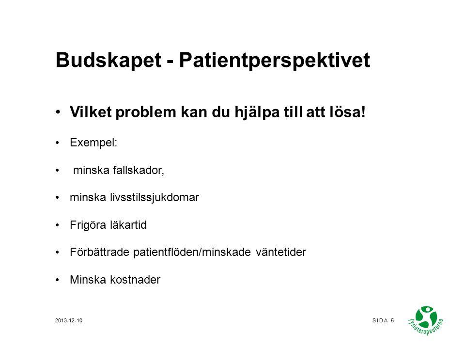 Budskapet - Patientperspektivet Vilket problem kan du hjälpa till att lösa.