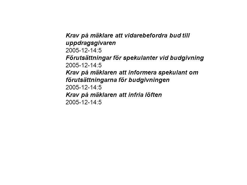 Krav på mäklare att vidarebefordra bud till uppdragsgivaren 2005-12-14:5 Förutsättningar för spekulanter vid budgivning 2005-12-14:5 Krav på mäklaren att informera spekulant om förutsättningarna för budgivningen 2005-12-14:5 Krav på mäklaren att infria löften 2005-12-14:5