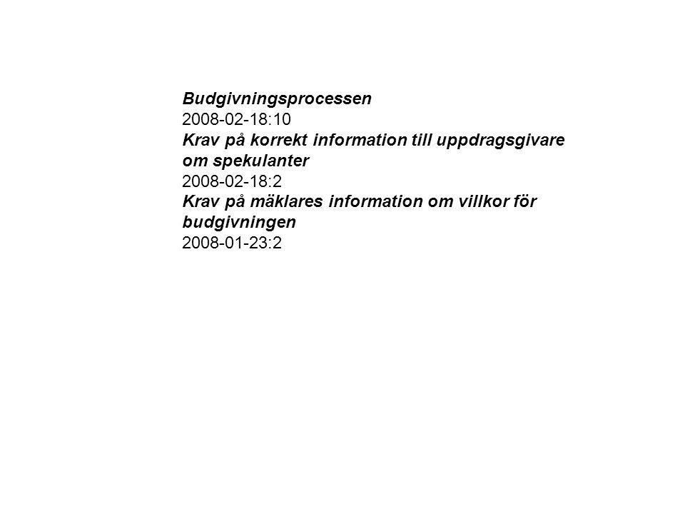 Budgivningsprocessen 2008-02-18:10 Krav på korrekt information till uppdragsgivare om spekulanter 2008-02-18:2 Krav på mäklares information om villkor för budgivningen 2008-01-23:2