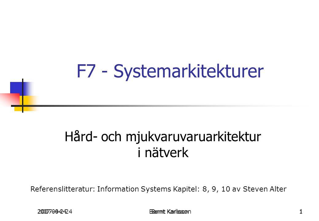 2007-04-24Bernt Karlsson 12007-04-24Bernt Karlsson1 F7 - Systemarkitekturer Hård- och mjukvaruvaruarkitektur i nätverk Referenslitteratur: Information