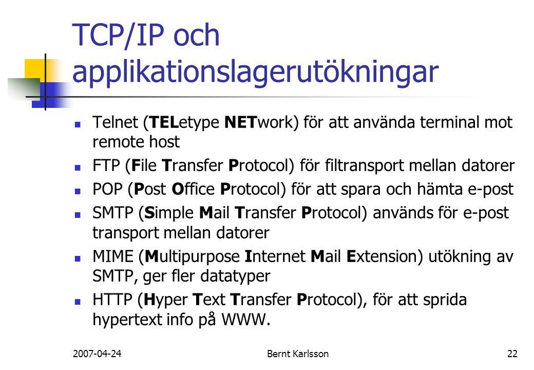 2007-04-24Bernt Karlsson22 TCP/IP och applikationslagerutökningar Telnet (TELetype NETwork) för att använda terminal mot remote host FTP (File Transfe