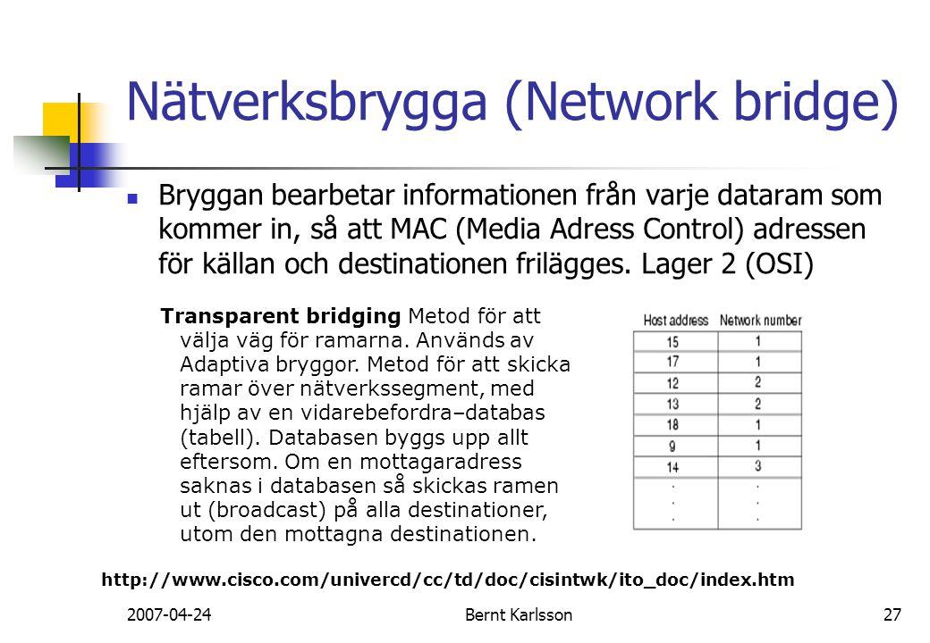 2007-04-24Bernt Karlsson27 Bryggan bearbetar informationen från varje dataram som kommer in, så att MAC (Media Adress Control) adressen för källan och
