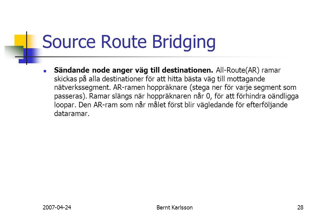 2007-04-24Bernt Karlsson28 Source Route Bridging Sändande node anger väg till destinationen. All-Route(AR) ramar skickas på alla destinationer för att