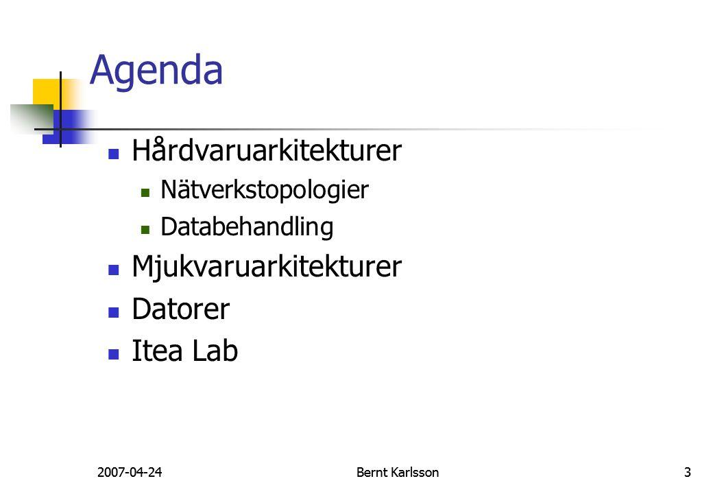 2007-04-24Bernt Karlsson32007-04-24Bernt Karlsson3 Agenda Hårdvaruarkitekturer Nätverkstopologier Databehandling Mjukvaruarkitekturer Datorer Itea Lab