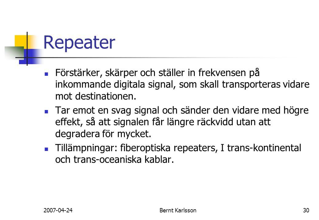 2007-04-24Bernt Karlsson30 Repeater Förstärker, skärper och ställer in frekvensen på inkommande digitala signal, som skall transporteras vidare mot de