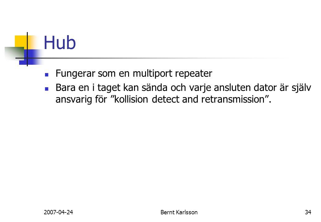"""2007-04-24Bernt Karlsson34 Hub Fungerar som en multiport repeater Bara en i taget kan sända och varje ansluten dator är själv ansvarig för """"kollision"""