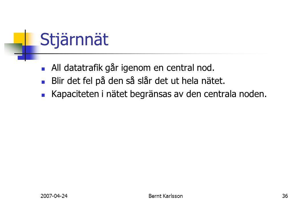 2007-04-24Bernt Karlsson36 Stjärnnät All datatrafik går igenom en central nod. Blir det fel på den så slår det ut hela nätet. Kapaciteten i nätet begr