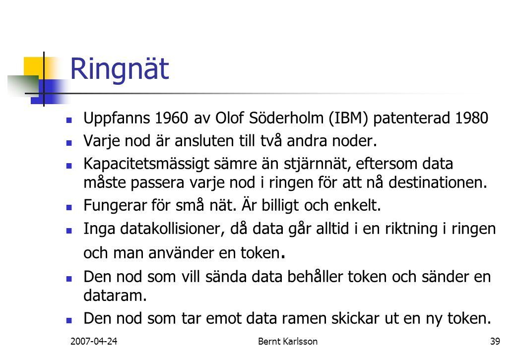 2007-04-24Bernt Karlsson39 Ringnät Uppfanns 1960 av Olof Söderholm (IBM) patenterad 1980 Varje nod är ansluten till två andra noder. Kapacitetsmässigt