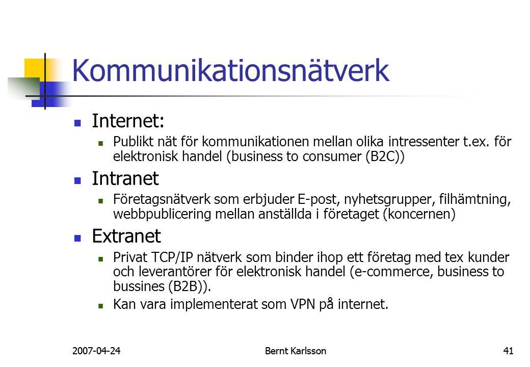 2007-04-24Bernt Karlsson412007-04-24Bernt Karlsson41 Kommunikationsnätverk Internet: Publikt nät för kommunikationen mellan olika intressenter t.ex. f