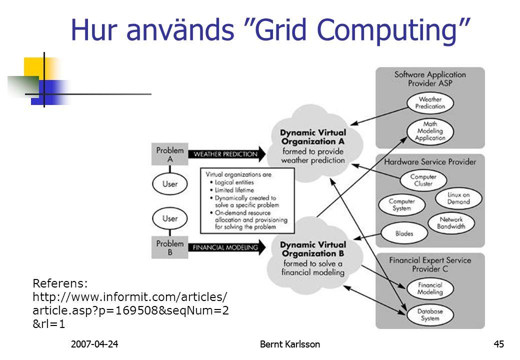 "2007-04-24Bernt Karlsson45 Hur används ""Grid Computing"" 2007-04-24Bernt Karlsson45 Referens: http://www.informit.com/articles/ article.asp?p=169508&se"