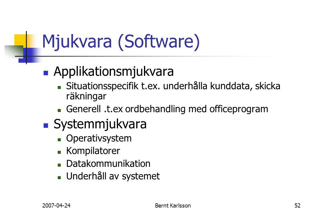 2007-04-24Bernt Karlsson52 Mjukvara (Software) Applikationsmjukvara Situationsspecifik t.ex. underhålla kunddata, skicka räkningar Generell.t.ex ordbe