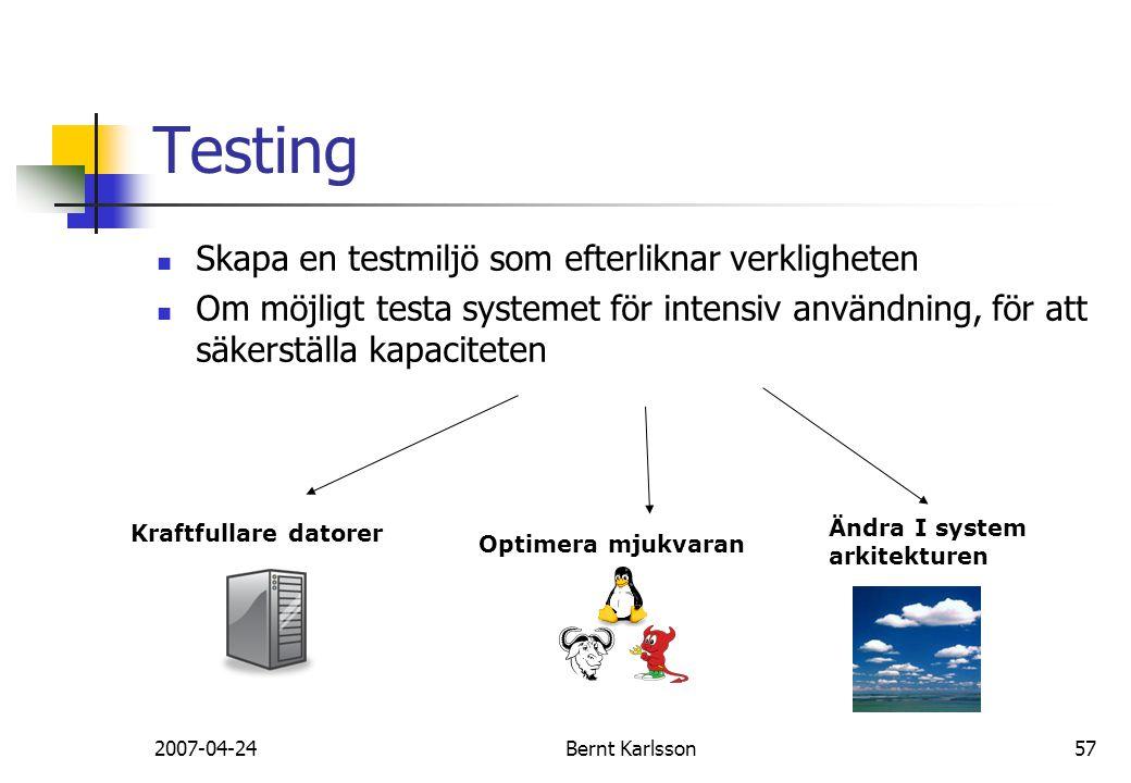 2007-04-24Bernt Karlsson57 Testing Skapa en testmiljö som efterliknar verkligheten Om möjligt testa systemet för intensiv användning, för att säkerstä