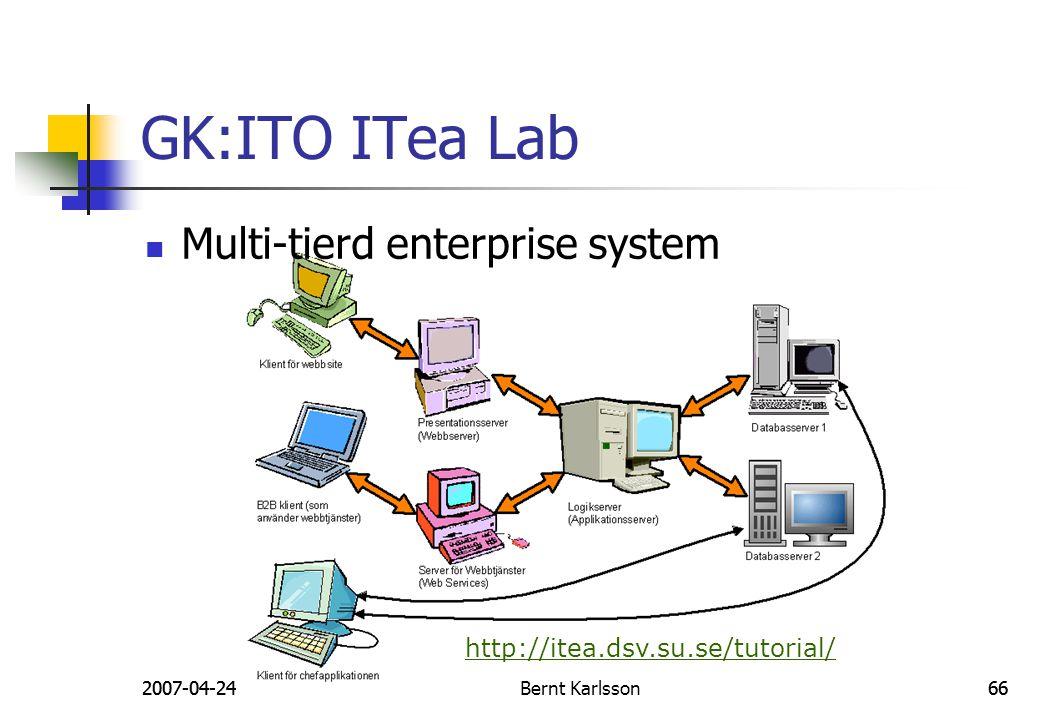 2007-04-24Bernt Karlsson662007-04-24Bernt Karlsson66 GK:ITO ITea Lab http://itea.dsv.su.se/tutorial/ Multi-tierd enterprise system