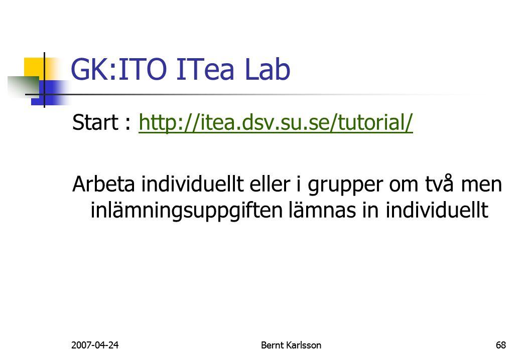 2007-04-24Bernt Karlsson682007-04-24Bernt Karlsson68 GK:ITO ITea Lab Start : http://itea.dsv.su.se/tutorial/http://itea.dsv.su.se/tutorial/ Arbeta ind