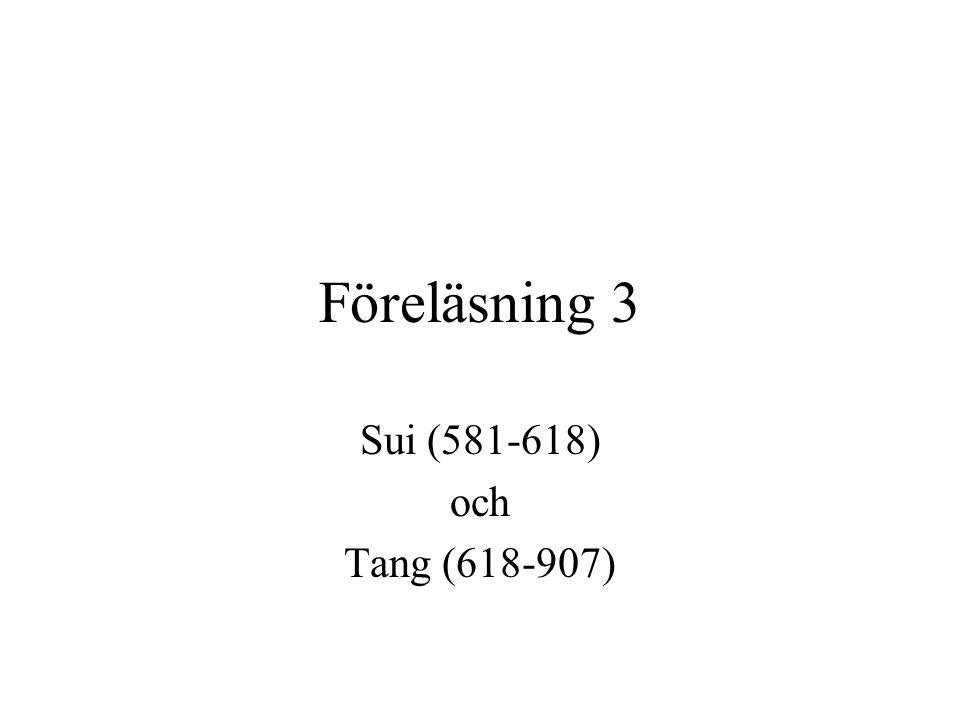 Föreläsning 3 Sui (581-618) och Tang (618-907)