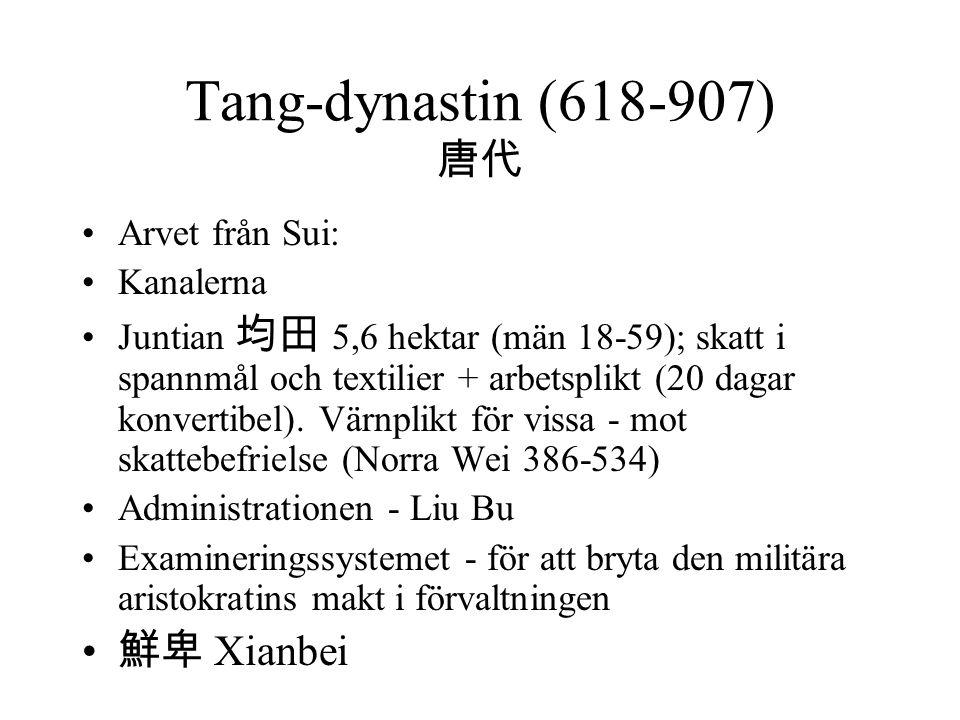 Tang-dynastin (618-907) 唐代 Arvet från Sui: Kanalerna Juntian 均田 5,6 hektar (män 18-59); skatt i spannmål och textilier + arbetsplikt (20 dagar konvertibel).