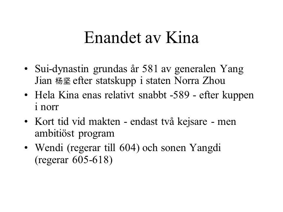 Enandet av Kina Sui-dynastin grundas år 581 av generalen Yang Jian 杨坚 efter statskupp i staten Norra Zhou Hela Kina enas relativt snabbt -589 - efter kuppen i norr Kort tid vid makten - endast två kejsare - men ambitiöst program Wendi (regerar till 604) och sonen Yangdi (regerar 605-618)