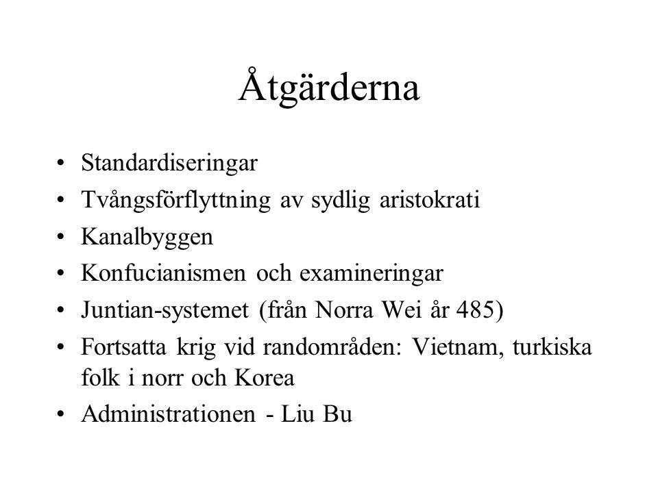 Åtgärderna Standardiseringar Tvångsförflyttning av sydlig aristokrati Kanalbyggen Konfucianismen och examineringar Juntian-systemet (från Norra Wei år 485) Fortsatta krig vid randområden: Vietnam, turkiska folk i norr och Korea Administrationen - Liu Bu