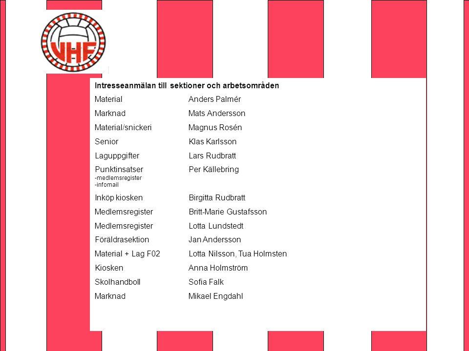 Intresseanmälan till sektioner och arbetsområden MaterialAnders Palmér MarknadMats Andersson Material/snickeriMagnus Rosén SeniorKlas Karlsson Laguppg