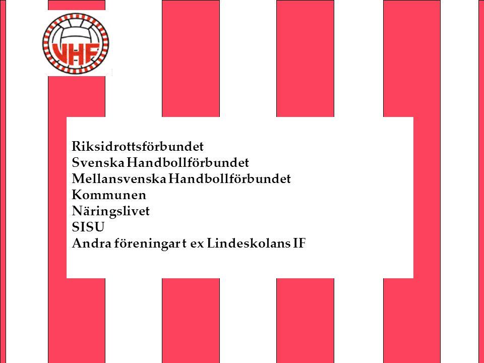 Riksidrottsförbundet Svenska Handbollförbundet Mellansvenska Handbollförbundet Kommunen Näringslivet SISU Andra föreningar t ex Lindeskolans IF