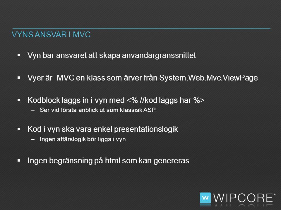  Vyn bär ansvaret att skapa användargränssnittet  Vyer är MVC en klass som ärver från System.Web.Mvc.ViewPage  Kodblock läggs in i vyn med –Ser vid första anblick ut som klassisk ASP  Kod i vyn ska vara enkel presentationslogik –Ingen affärslogik bör ligga i vyn  Ingen begränsning på html som kan genereras VYNS ANSVAR I MVC