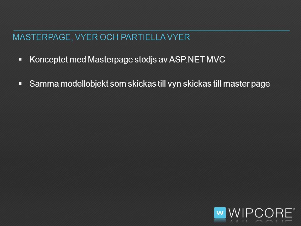  Konceptet med Masterpage stödjs av ASP.NET MVC  Samma modellobjekt som skickas till vyn skickas till master page MASTERPAGE, VYER OCH PARTIELLA VYER