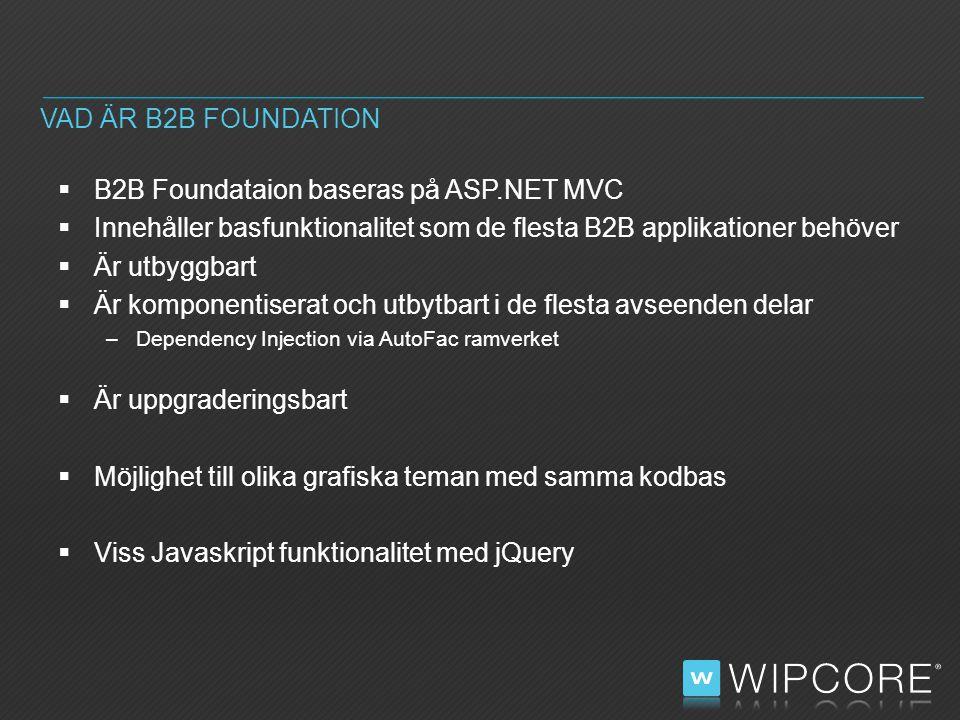  B2B Foundataion baseras på ASP.NET MVC  Innehåller basfunktionalitet som de flesta B2B applikationer behöver  Är utbyggbart  Är komponentiserat och utbytbart i de flesta avseenden delar –Dependency Injection via AutoFac ramverket  Är uppgraderingsbart  Möjlighet till olika grafiska teman med samma kodbas  Viss Javaskript funktionalitet med jQuery VAD ÄR B2B FOUNDATION