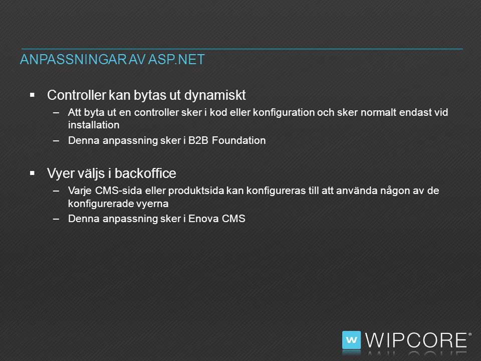  Controller kan bytas ut dynamiskt –Att byta ut en controller sker i kod eller konfiguration och sker normalt endast vid installation –Denna anpassning sker i B2B Foundation  Vyer väljs i backoffice –Varje CMS-sida eller produktsida kan konfigureras till att använda någon av de konfigurerade vyerna –Denna anpassning sker i Enova CMS ANPASSNINGAR AV ASP.NET