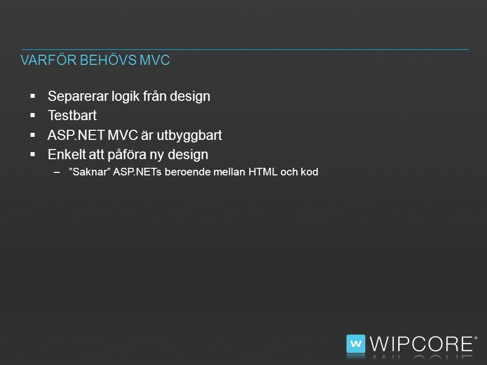  Separerar logik från design  Testbart  ASP.NET MVC är utbyggbart  Enkelt att påföra ny design – Saknar ASP.NETs beroende mellan HTML och kod VARFÖR BEHÖVS MVC