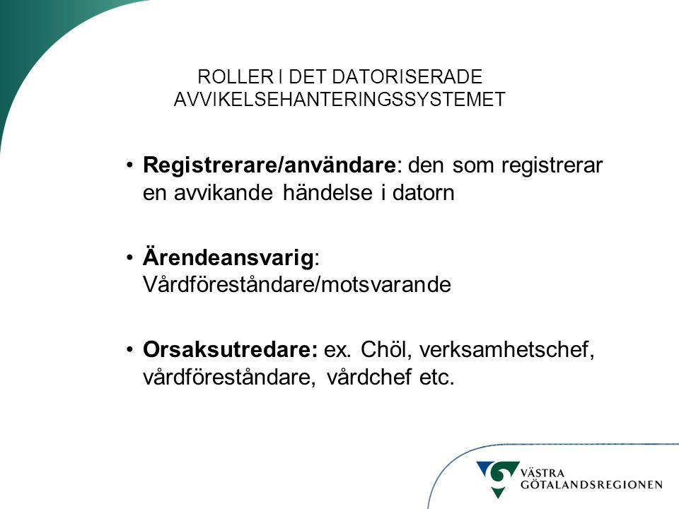 ROLLER I DET DATORISERADE AVVIKELSEHANTERINGSSYSTEMET Registrerare/användare: den som registrerar en avvikande händelse i datorn Ärendeansvarig: Vårdföreståndare/motsvarande Orsaksutredare: ex.