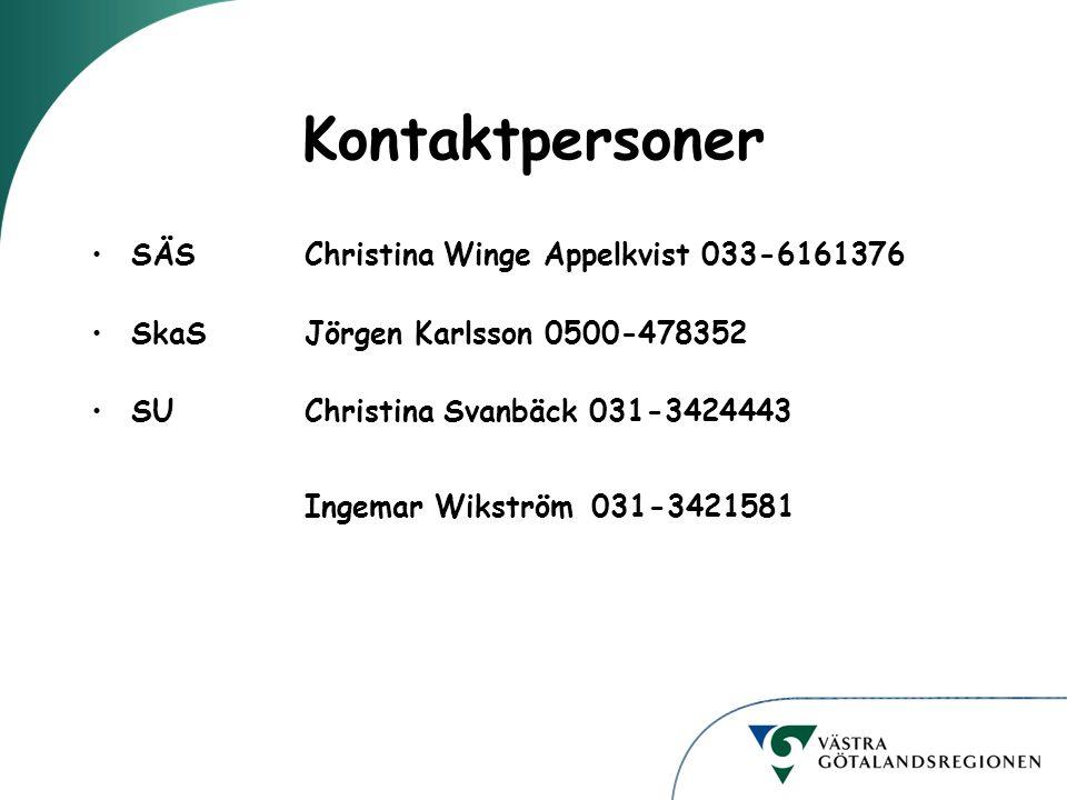 Kontaktpersoner SÄSChristina Winge Appelkvist 033-6161376 SkaSJörgen Karlsson 0500-478352 SU Christina Svanbäck 031-3424443 Ingemar Wikström 031-3421581