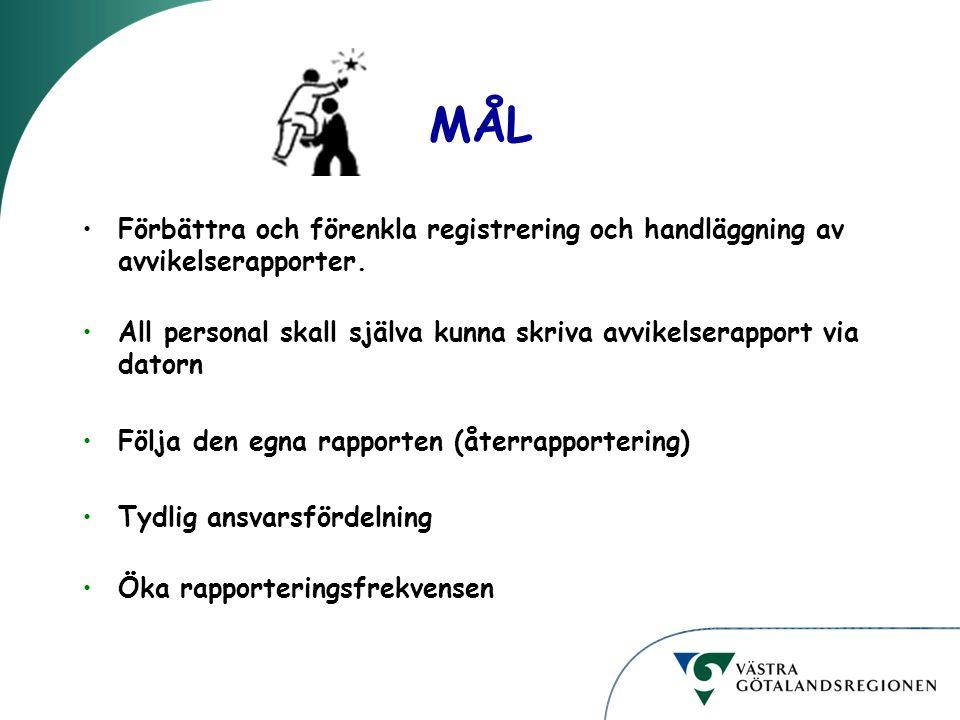 MÅL Förbättra och förenkla registrering och handläggning av avvikelserapporter. All personal skall själva kunna skriva avvikelserapport via datorn Föl