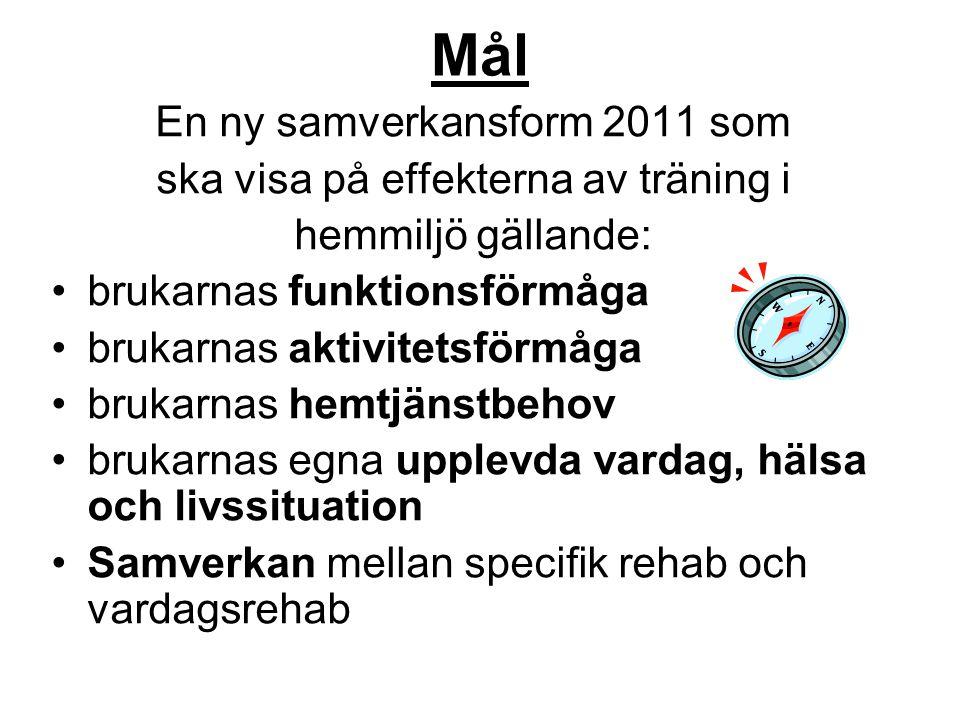 Mål En ny samverkansform 2011 som ska visa på effekterna av träning i hemmiljö gällande: brukarnas funktionsförmåga brukarnas aktivitetsförmåga brukar