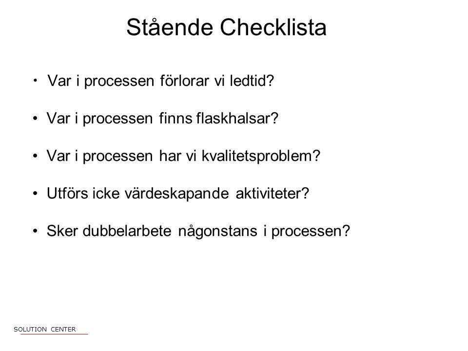 Stående Checklista Var i processen förlorar vi ledtid.