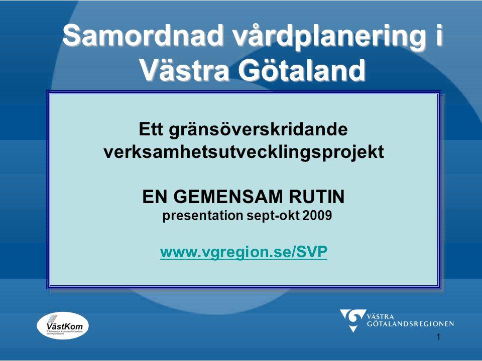 1 Samordnad vårdplanering i Västra Götaland Ett gränsöverskridande verksamhetsutvecklingsprojekt EN GEMENSAM RUTIN presentation sept-okt 2009 www.vgre