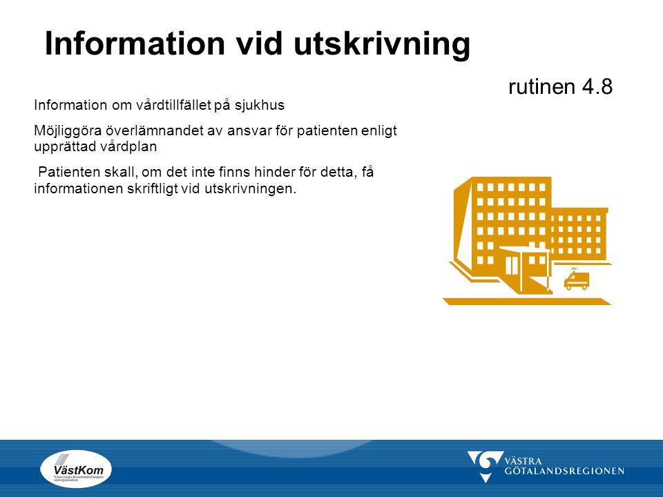 Information vid utskrivning rutinen 4.8 Information om vårdtillfället på sjukhus Möjliggöra överlämnandet av ansvar för patienten enligt upprättad vår