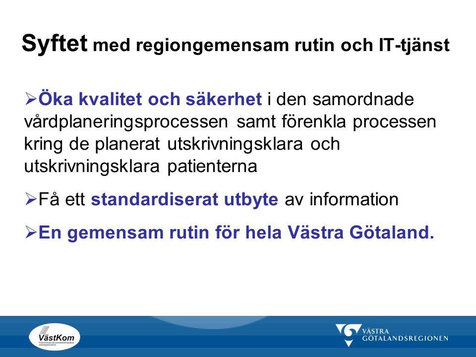 Styrdokument Lag om kommunernas betalningsansvar för viss hälso-och sjukvård (1990:1404) Samverkan vid in- och utskrivning av patienter i sluten vård (SOSFS 2005:27) Avtal / överenskommelse mellan kommunerna och Västra Götalands- regionen - Avtal som reglerar hälso- och sjukvårdsansvaret mellan VGR och kommunerna i Västra Götaland (2006) - Överenskommelse om regiongemensam inriktning för nya rutiner för samordnad vårdplanering för utskrivningsklara patienter m.m.